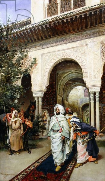 Leaving the Alhambra Palace, Al-Andalus.  Not clear whether it's the end of an era or the Sultan is stepping out on duty.  Artist: Harry Humphrey Moore.