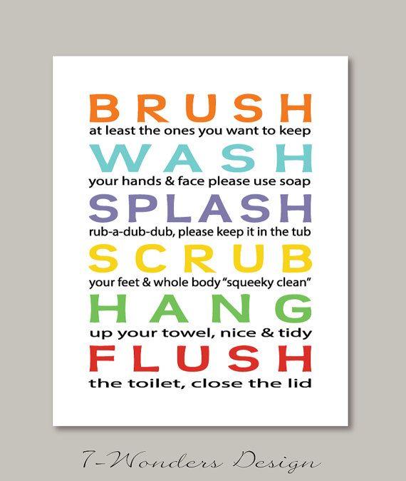 Kids Bathroom Art Prints Brush, Wash, Splash .. Subway StyleTypography Modern Home Decor  - 8x10, 11x14, 12x18 Childrens Wall Art