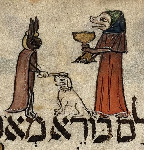 "British Library, Additional 14761, detail of f. 26v ('The first cup'). Haggadah, liturgical poems and biblical readings for Passover (The 'Barcelona Haggadah'), Sephardic rite. Barcelona, c.1340.  "" …miniature of a pig-like figure lifting the first cup of wine and a hare placing a stick upon a dog's head."