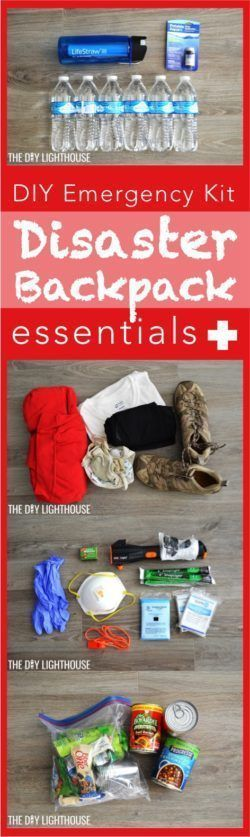 DIY Disaster Backpack. A comprehensive emergency kit with all of the essentials for a natural disaster, fire, food shortage, recession, or other emergency so you can be prepared. Be ready with this preparation 72 hour kit for your emergency preparedness. What to get for your bag and tips for planning. Includes an escape plan, family meeting tips, etc.