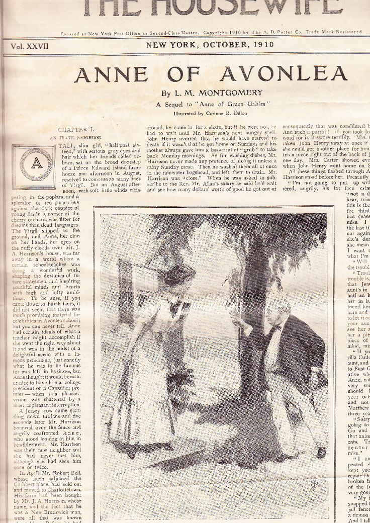 """The first page of """"Anne of Avonlea"""", as it was published as a serial in the March 1910 The Housewife Magazine!"""