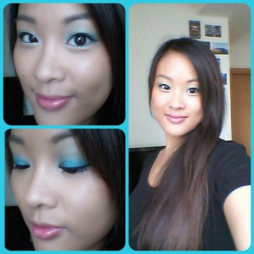 Maybelline color tattoo in tenacious teal and sephora flashy liner in flashy blue