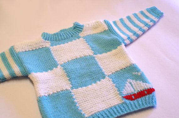 Children sweater, blue & white with embroidered sailing boat, 3-6 months