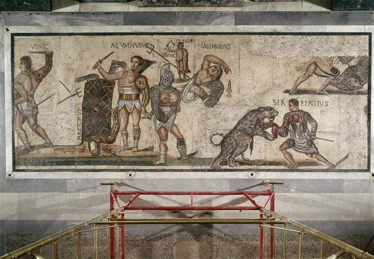 Gladiatorial Combat and Gladiator fighting a Leopard, mosaic marble and limestone tesserae, 320-330 CE / www.arthistorybabes.com