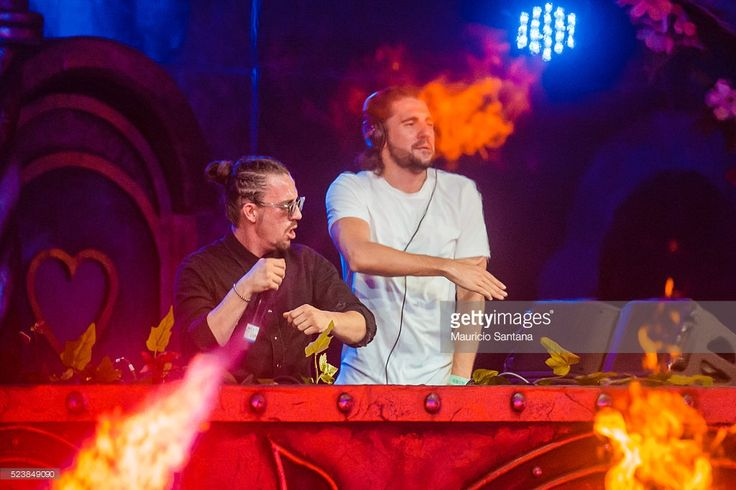 Dimitri Vegas & Like Mike performs live on stage during the third day of the Tomorrowland music festival at Parque Maeda Itu on April 23, 2016 in Sao Paulo, Brazil.