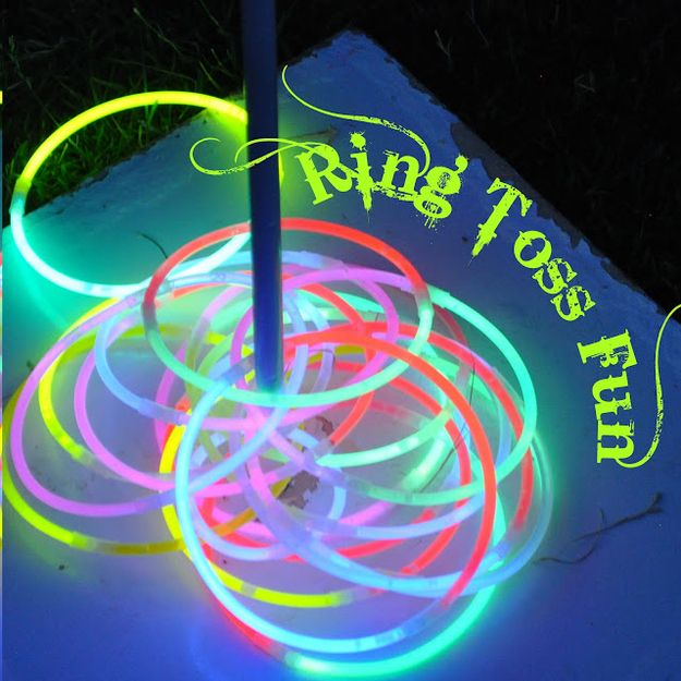 Use glow necklaces and glow bracelets for a few rounds of night time ring toss. | 32 Cheap And Easy Backyard Ideas That Are Borderline Genius