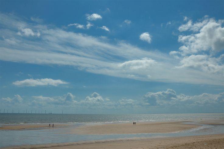 Skegness beach, Lincolnshire, UK. Dog friendly beach