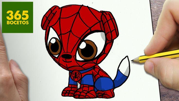 como dibujar perro spiderman kawaii paso a paso dibujos