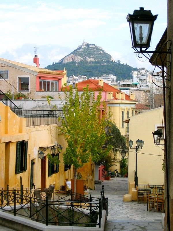 old city centre of Athens: Plaka, with a view of the Lykavittos hill - Greece