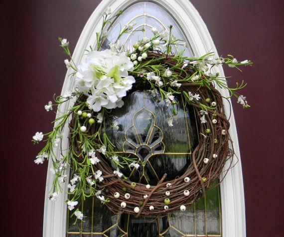 Grapevine Door Decor Spring WreathWhite by AnExtraordinaryGift, $50.00