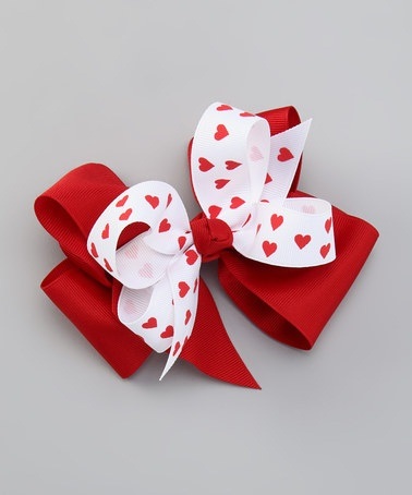 Take a look at this Red & White Heart Bow Clip Set by Picture Perfect Hair Bows on #zulily today!