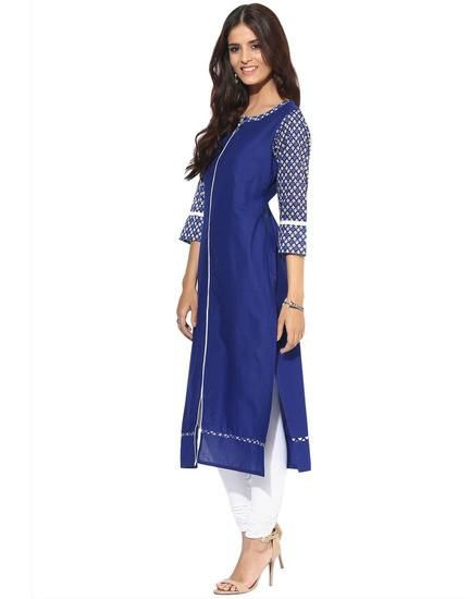 LadyIndia.com # Cotton Kurti, Fabulous Floral Cotton Blue Kurti For Women, Kurtis, Kurtas, Cotton Kurti, https://ladyindia.com/collections/ethnic-wear/products/fabulous-floral-cotton-blue-kurti-for-women