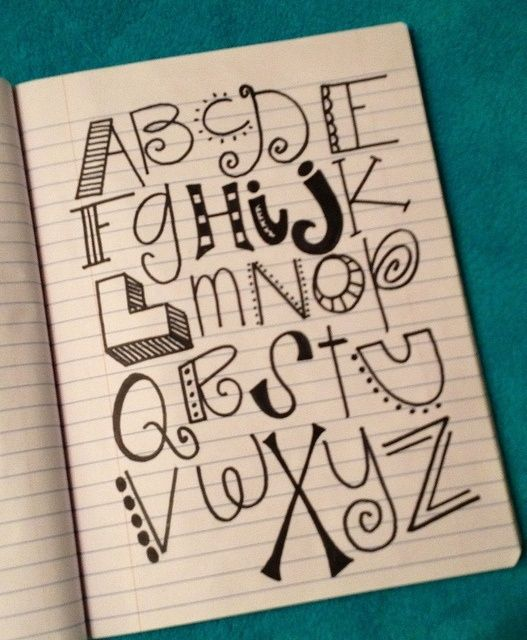 Handwriting ideas for letters Also a neat chart for kids to think about creative ways to do their posters or projects.