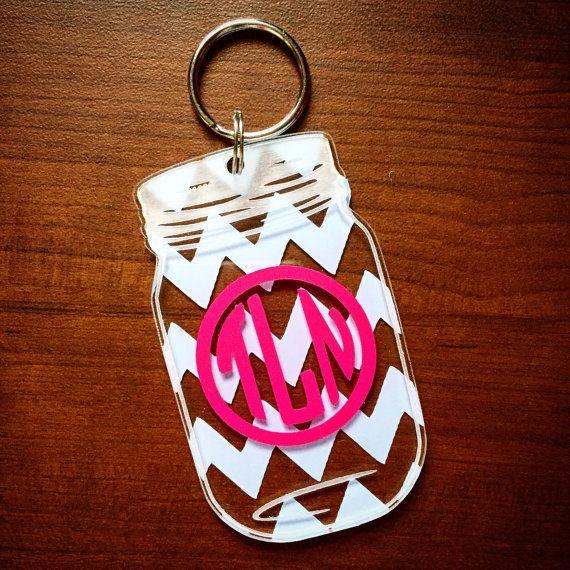 Mason Jar Monogram Keychain by MagicalMonograms on Etsy