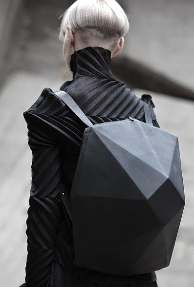 Geometric Backpack with faceted 3D shape; innovative fashion design // Konstantin Kofta