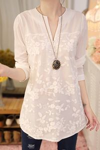Fashionable V-Neck Organza Long Sleeve Blouse For Women