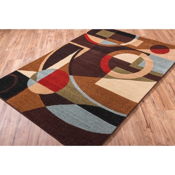 Well Woven Bright Trendy Twist Art Deco Shapes Brown Air Twisted Polypropylene Rug 33 X 47 By RugsLiving Room