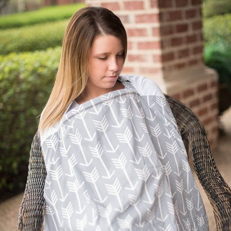 Nursing Cover with Built-in Burp Cloth + FREE Pouch | Arrow Pattern
