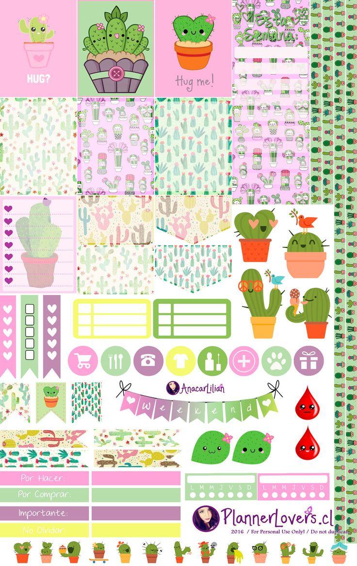 Kawaii Cactus Printable Stickers by AnacarLilian on DeviantArt