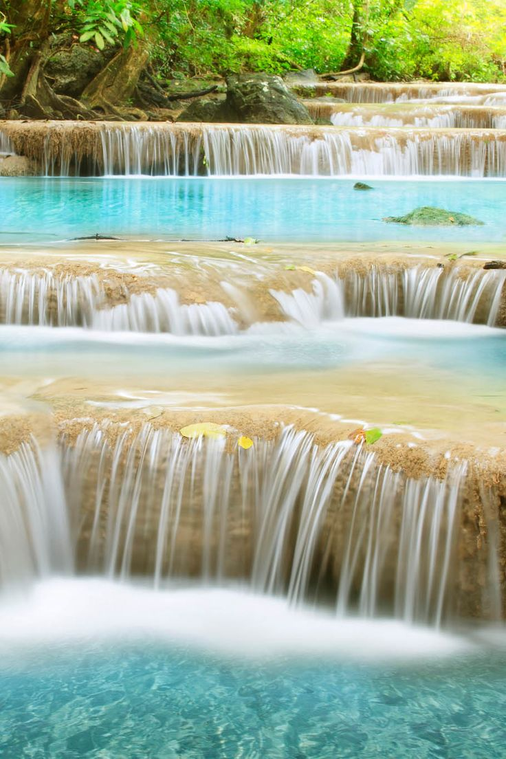 Second level of Erawan Waterfall in Kanchanaburi Province, Thailand