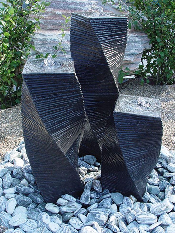 Wasserspiel Einzelsäule 55 cm Stele gedreht schwarz Springbrunnen Säulenbrunnen in Garten & Terrasse, Teiche, Bachläufe und Brunnen, Spring- & Zierbrunnen   eBay!