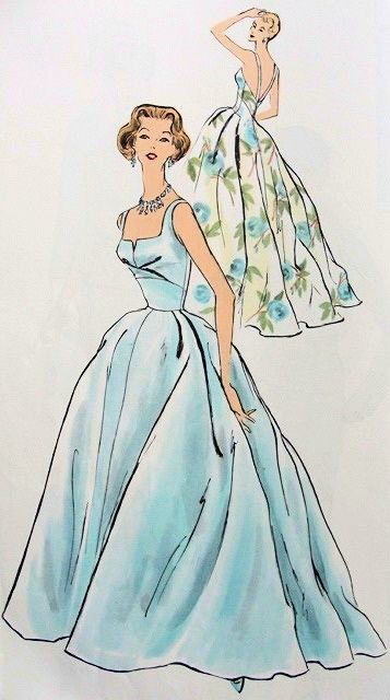 The illustrator captured silk dupioni. You know what the fabric is. Vintage Vogue Pattern 'Paris Original' 1343 B // designed by Jacques Heim, 1957.
