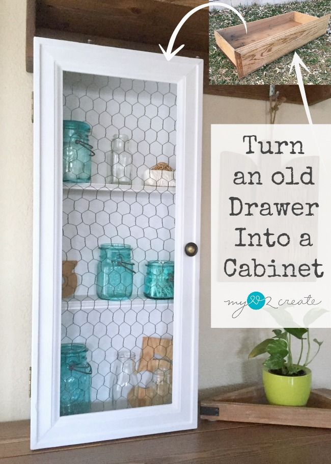 Repurpose an old drawer and some scrap wood to make this unique chicken wire door drawer cabinet. YES! I cabinet made out of an old drawer, brilliant!