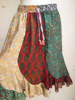 Damen Rock Sommerrock bunt sari Seide Goa Hippie NEU bunt schwingend leicht