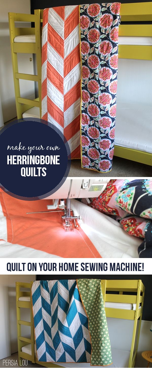 These herringbone pattern quilts are so cute! Learn how to make your own from cutting pieces to finishing binding.