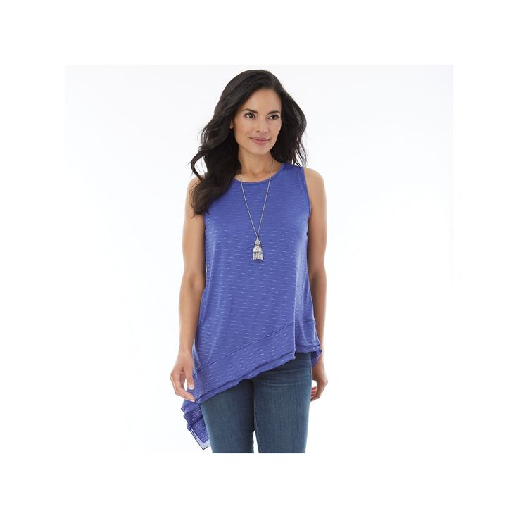 Women's AB Studio Asymmetrical Hem Necklace Tank, Size: Xlrg Av/Rg, Purple Oth