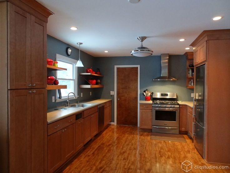 Maple Kitchen Cabinets And Blue Wall Color