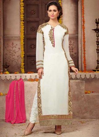 White Embroidery Work Georgette Chiffon Designer Fancy Long Churidar Suit http://www.angelnx.com/Salwar-Kameez/Churidar-Suits