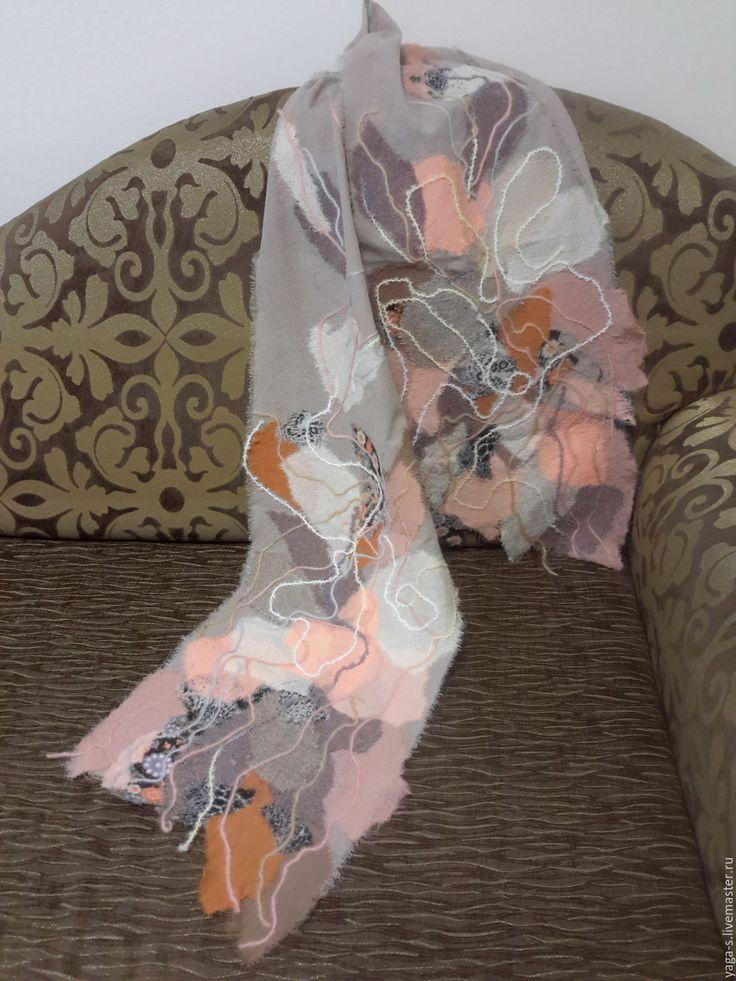"""Купить Яга шарф """"Цветущий персик"""" - шарф, шифоновый шарф, женский шарф, красивый шарф"""