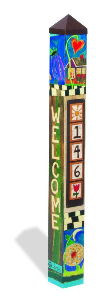 Wildly Popular new item designed by Stephanie Burgess for Painted Peace. This is a 4' Peace Pole made in the USA! This one features a magnetic panel for your address. Magnets are $5.00 each and ship for free with the peace pole. -Long-lasting and maintenance free. -Made of strong, lightweigh...