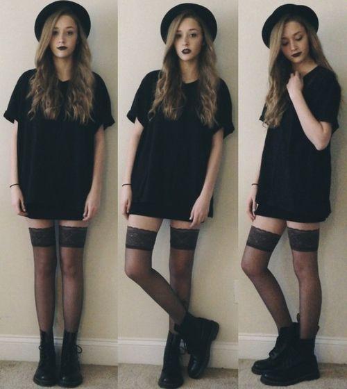 Fedora Hat Black T Shirt Dress Over The Knee Socks And