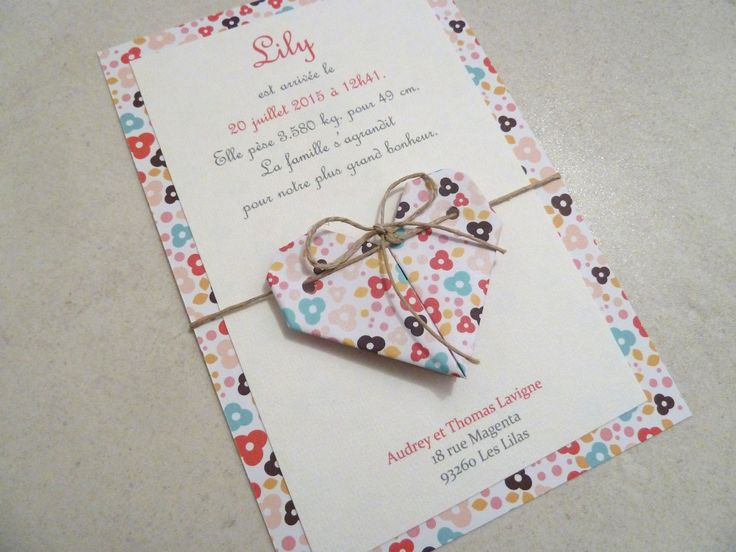 Faire part de naissance - baptême - carte de remerciement coeur en origami pour fille fleurs - liberty : Faire-part par papierelief