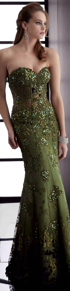moss green strapless with sparkle