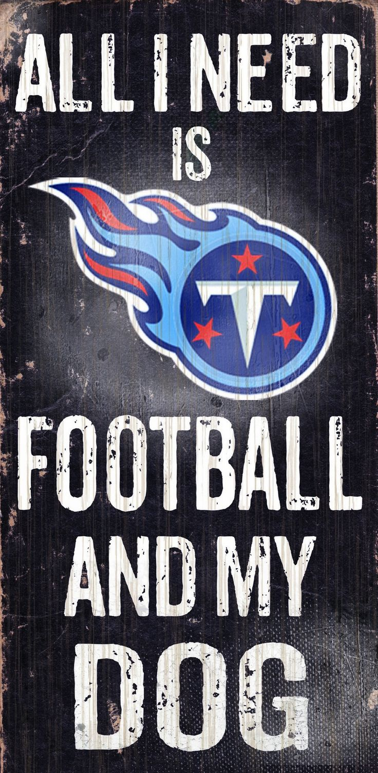 Tennessee Titans Wood Sign - Football and Dog 6x12
