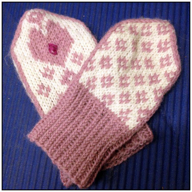 selbuvotter barn mønster hjerter - Google-søk