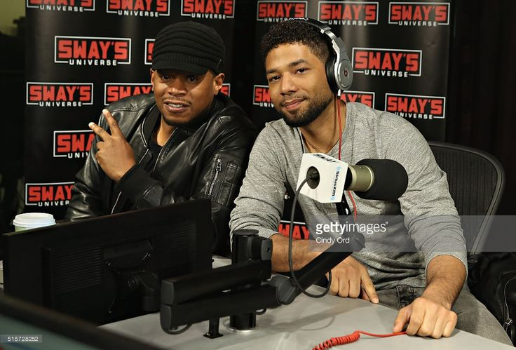 Actor Jussie Smollett visits 'Sway in the Morning' with Sway Calloway (L) on Eminem's Shade 45 at the SiriusXM Studios on March 15, 2016 in New York City.