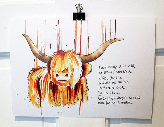 I LOVE me some Highland Coo!! ///// The Highland Cow Print by nataliesmillie on Etsy, £15.00