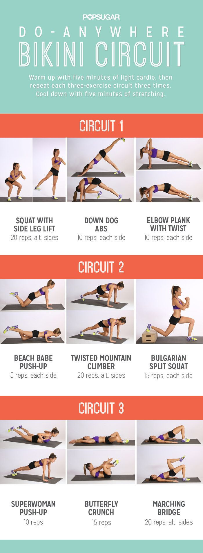 Lack of a gym membership is no longer an excuse for skipping workouts. Instead of relying on equipment, let your body be the gym. These 13 bodyweight workouts are effective, easy to follow, and plenty of fun like this Do-Anywhere Bikini Circuit