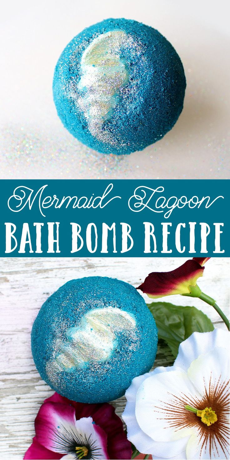 Learn how to make a mermaid lagoon bath bomb for a fun and colorful addition to your bath time ritual! This mermaid lagoon bath bomb recipe yields two large bath bombs with moisturizing cocoa butter shells. When placed in water, your mermaid lagoon bath bomb will spin, fizz and sparkle releasing a beautiful blue color, eco-friendly rainbow glitter and skin loving ingredients including kelp powder, oat butter and coconut oil.
