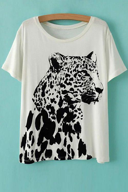 Leopard Pattern Round Neck Short Sleeve T-Shirt