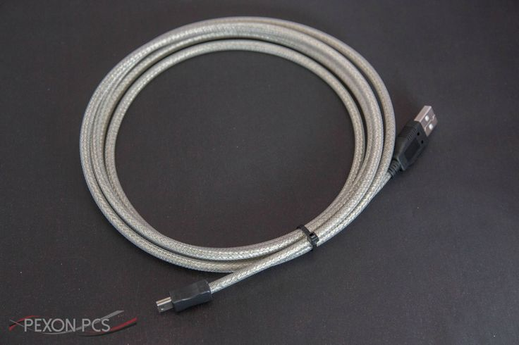 A cable made by Pexon. Mini USB to USB in Tinned Copper and Clear Techflex