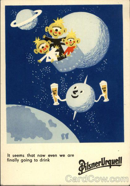 Pilsner Urquell advertisement with aliens Advertising