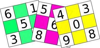 Bingo / Loto / Loteria Cartones coloridos para imprimir. Números del 0 al 9