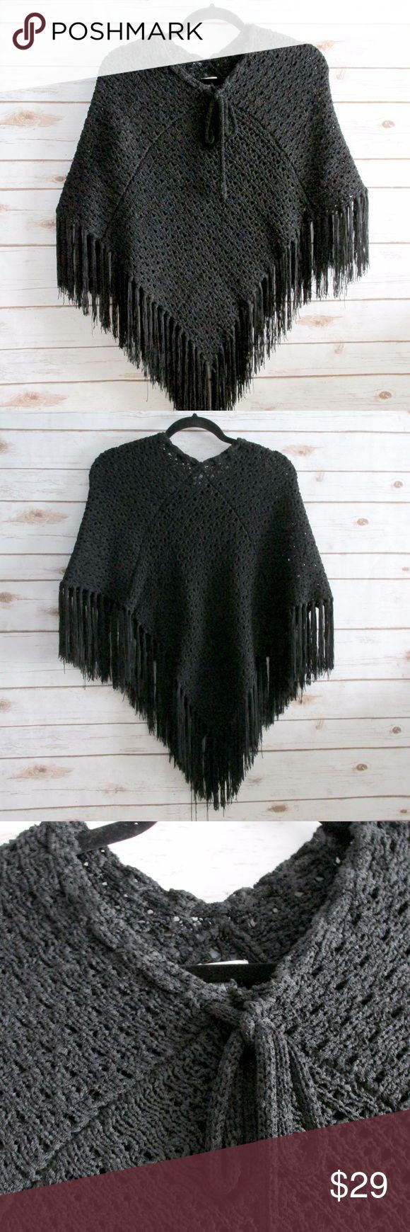 "XOXO Black Heavy Knit Crochet Fringe Poncho XOXO Black Crochet Fringe Poncho Junior Women One Size Vintage Circa 1999-2000  Condition: Pre-Owned Type: Outerwear Style: Poncho Brand: XOXO Size: OS Color: Black Measurements: 29"" Length Materials: 100% Rayon Features:  Thick chunky knit with fringe and a tie at the neck.  This poncho is heavy and well made.  Still gorgeous after sitting in my closet for so long.  DD1.8:201710290929:39:98XO XOXO Jackets & Coats"