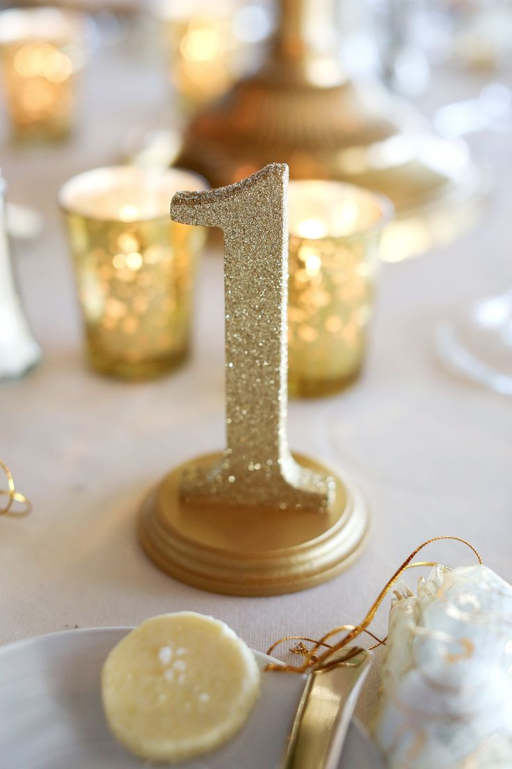 Glitter Gold Wedding Table Numbers - So beautiful and classy!