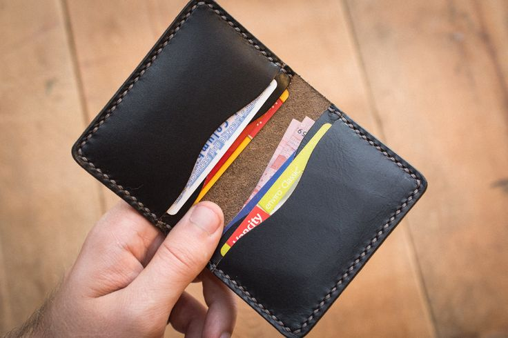Black 4 Card Bifold Leather Wallet